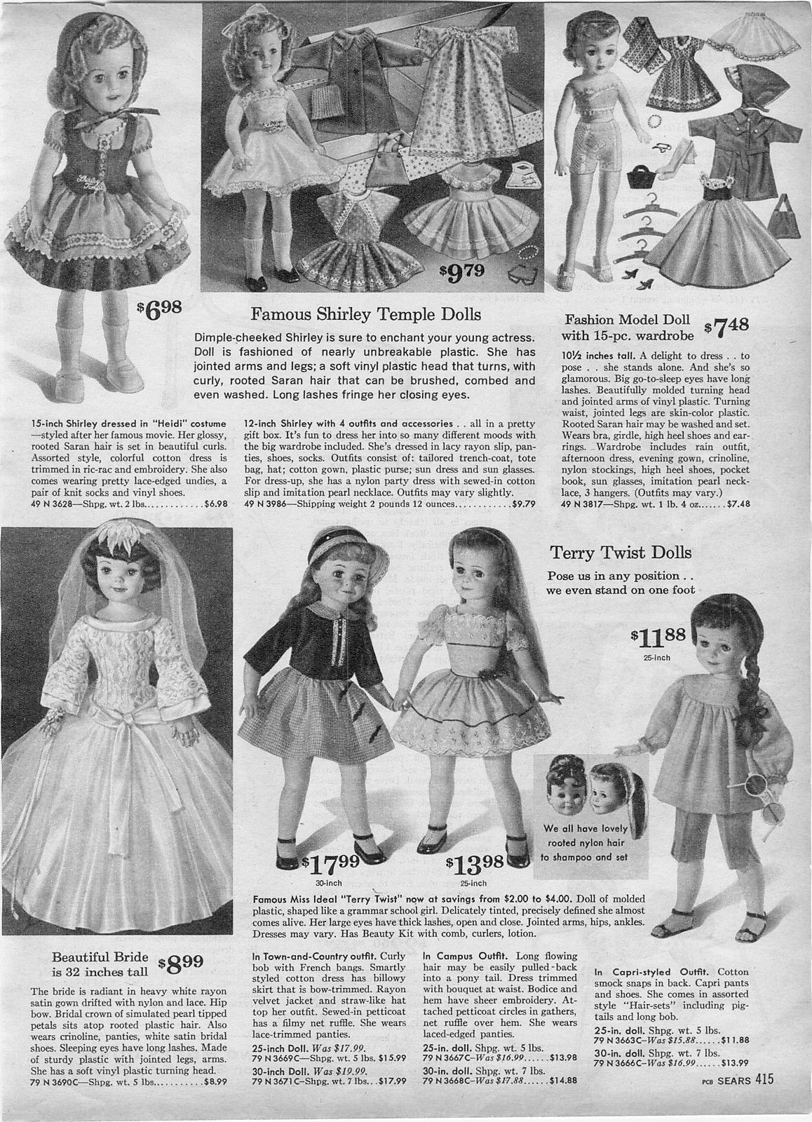 HEIDI DRESS AND CRINOLINE DOLL CLOTHING SHIRLEY TEMPLE ORIGINAL BY  IDEAL NEW
