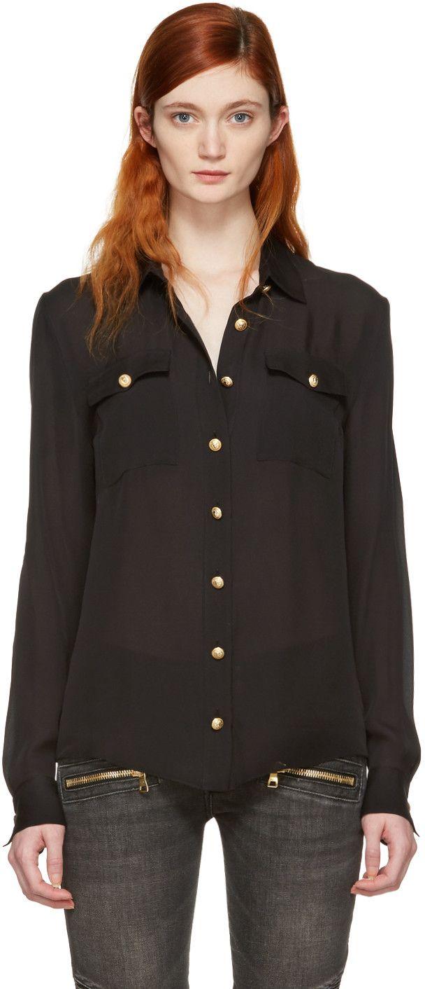 6fe077231d BALMAIN Black Silk Gold Buttons Shirt.  balmain  cloth  shirt ...