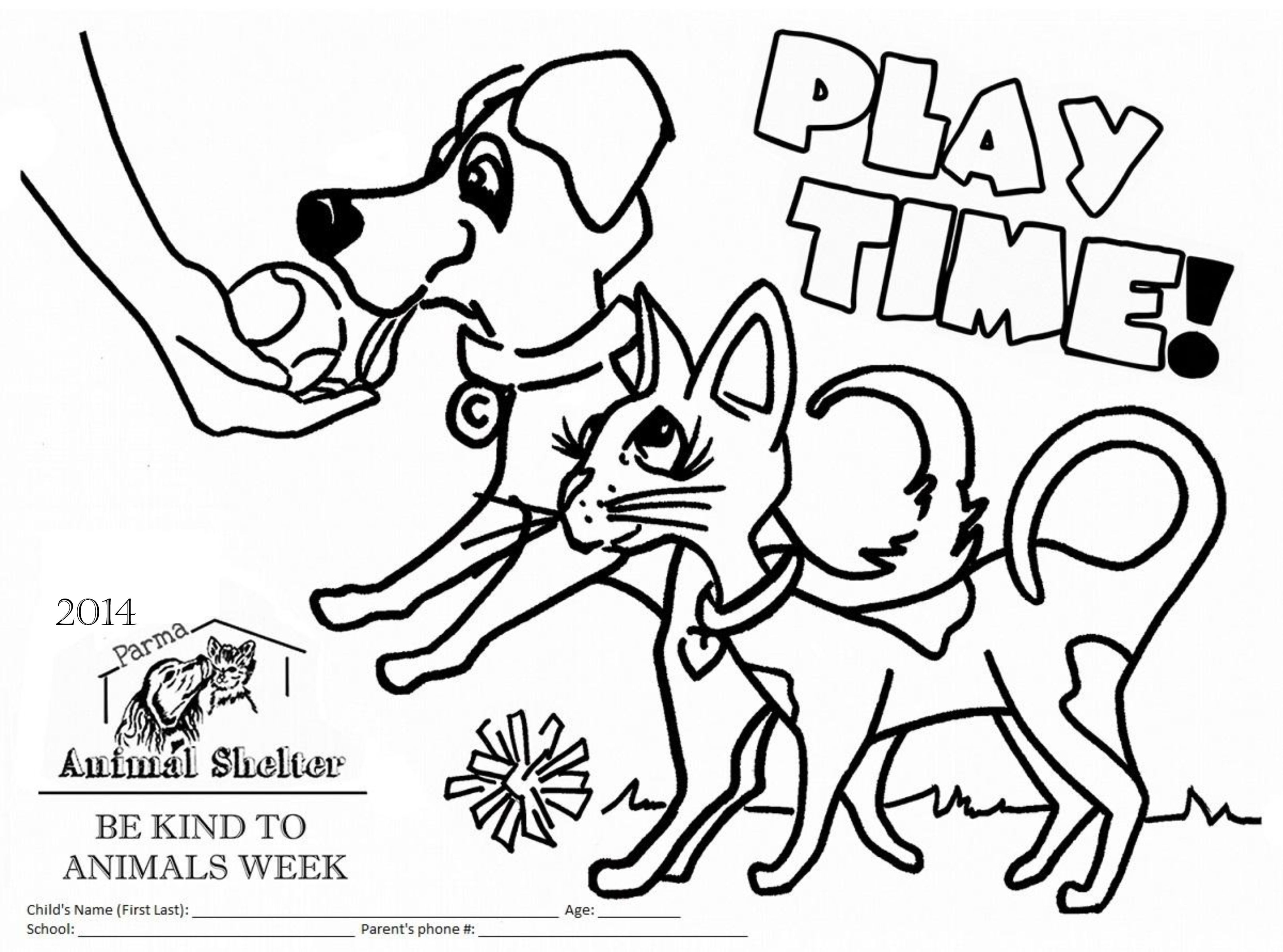 Coloring Page For The Parma Animal Shelters 2014 Be Kind To