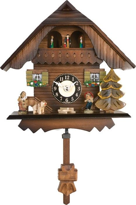 Quartz Cuckoo Clock - Painted Chalet with Dancers - Wesminster Chime or Cuckoo Sound - 7 Inches Tall - Model # 83-07QPT