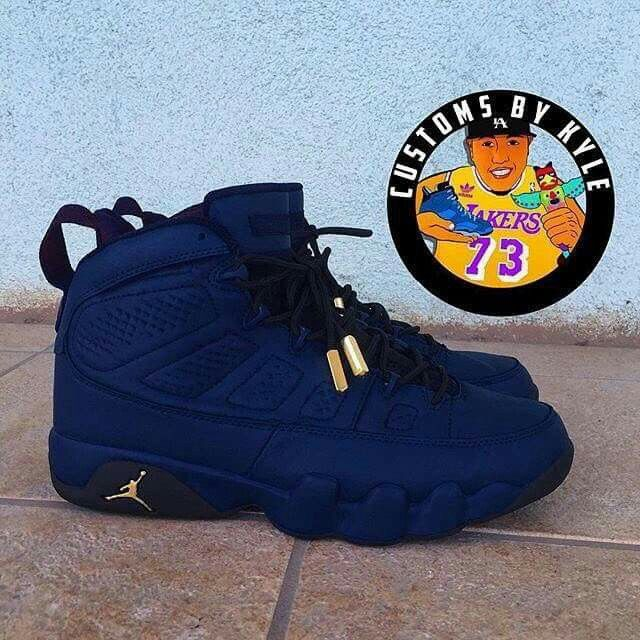 hot sale online 7b3d2 99d0f Air Jordan 9 Custom  Navy Blue Suede