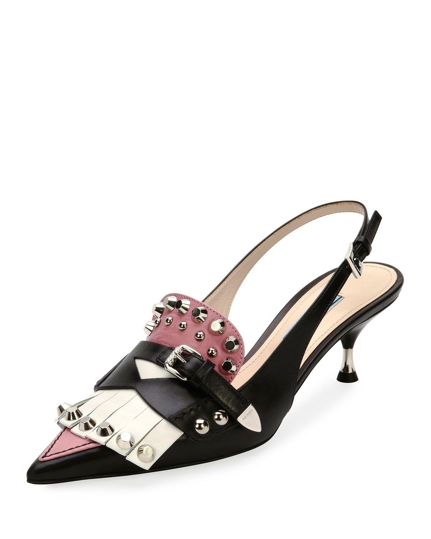 b13352c3fc3 Prada Studded Point-Toe Kiltie Slingback Pump Heels Outfits