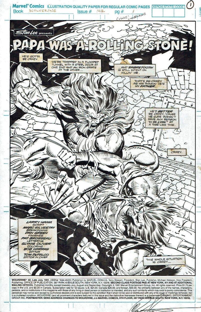 Wolverine Vs Sabretooth Wolverine 42 Title Splash By Marc Silvestri 1991 Comic Art Comic Art Comics Marvel Art
