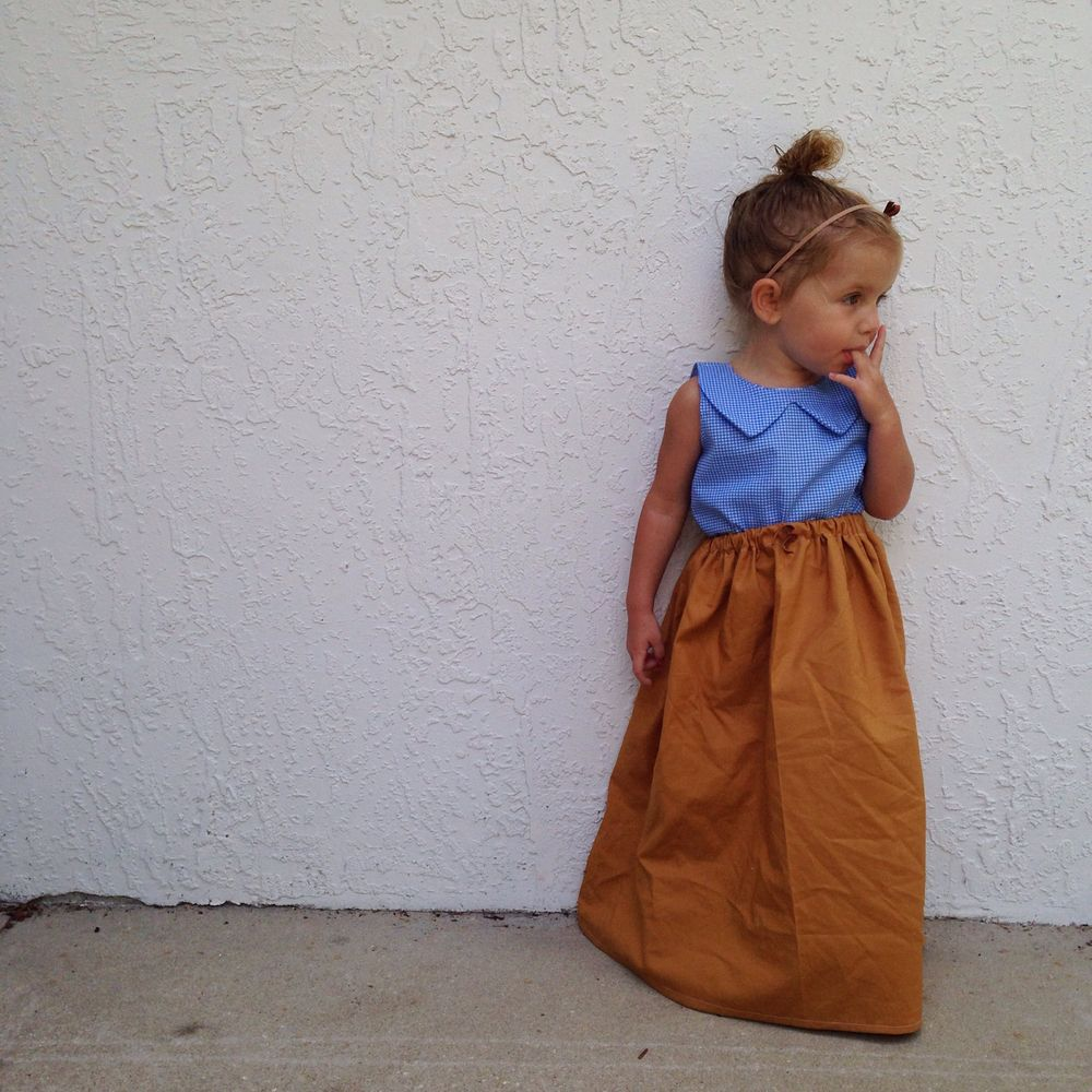 Goldenrod full length skirt. Toddler fashion. Toddler style. Summer fashion. Fall fashion. Toddler skirt. Shop small. Shop handmade. Handcrafted fashion.