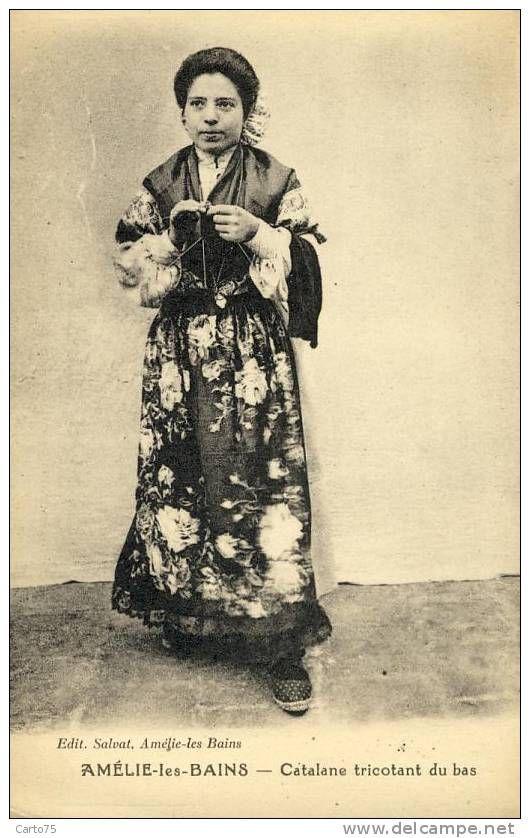 Folklore Pyrenees Orientales Tricot Carte Postale Femmes En