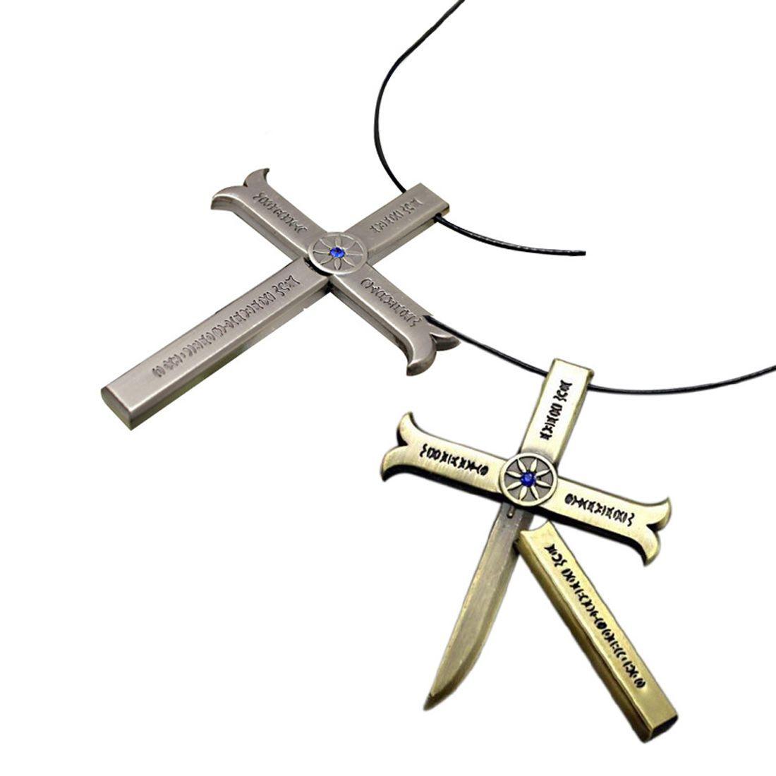 One Piece Hawk-Eye Dracule Mihawk Kogatana Cross Sword Cosplay Pendant Necklace
