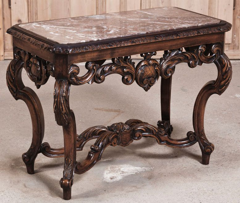 French Victorian Coffee Table: Louis XIV Marble Top End Table