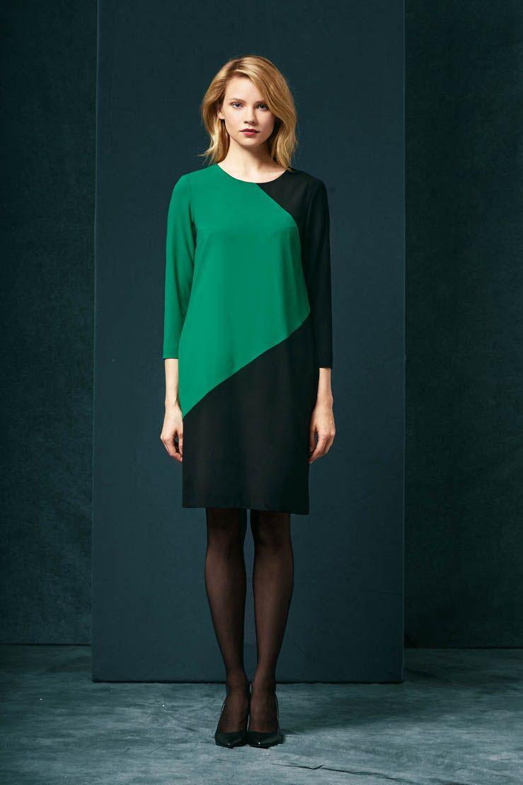 ff07c2ce71 Zielono-czarna sukienka z długim rękawem