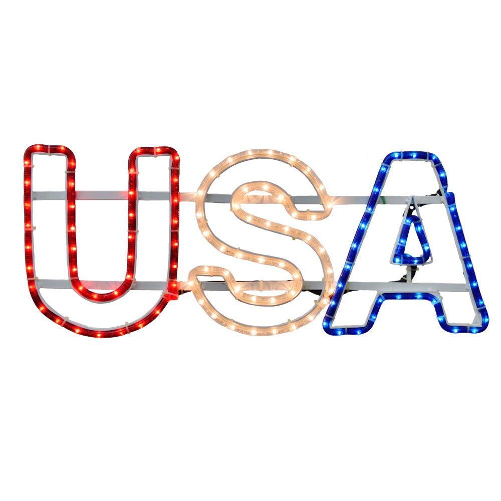 Show your patriotic pride with the usa american sign rope light show your patriotic pride with the usa american sign rope light usa or red white blue this rope light sign shows your true colors year round aloadofball Gallery