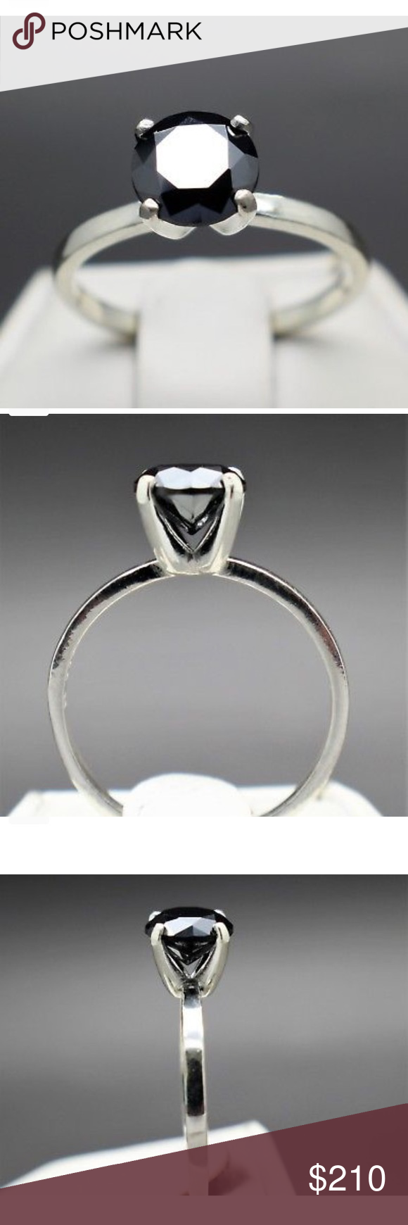 .70cts Black Natural Diamond Solitaire Ring .70cts 6.12mm