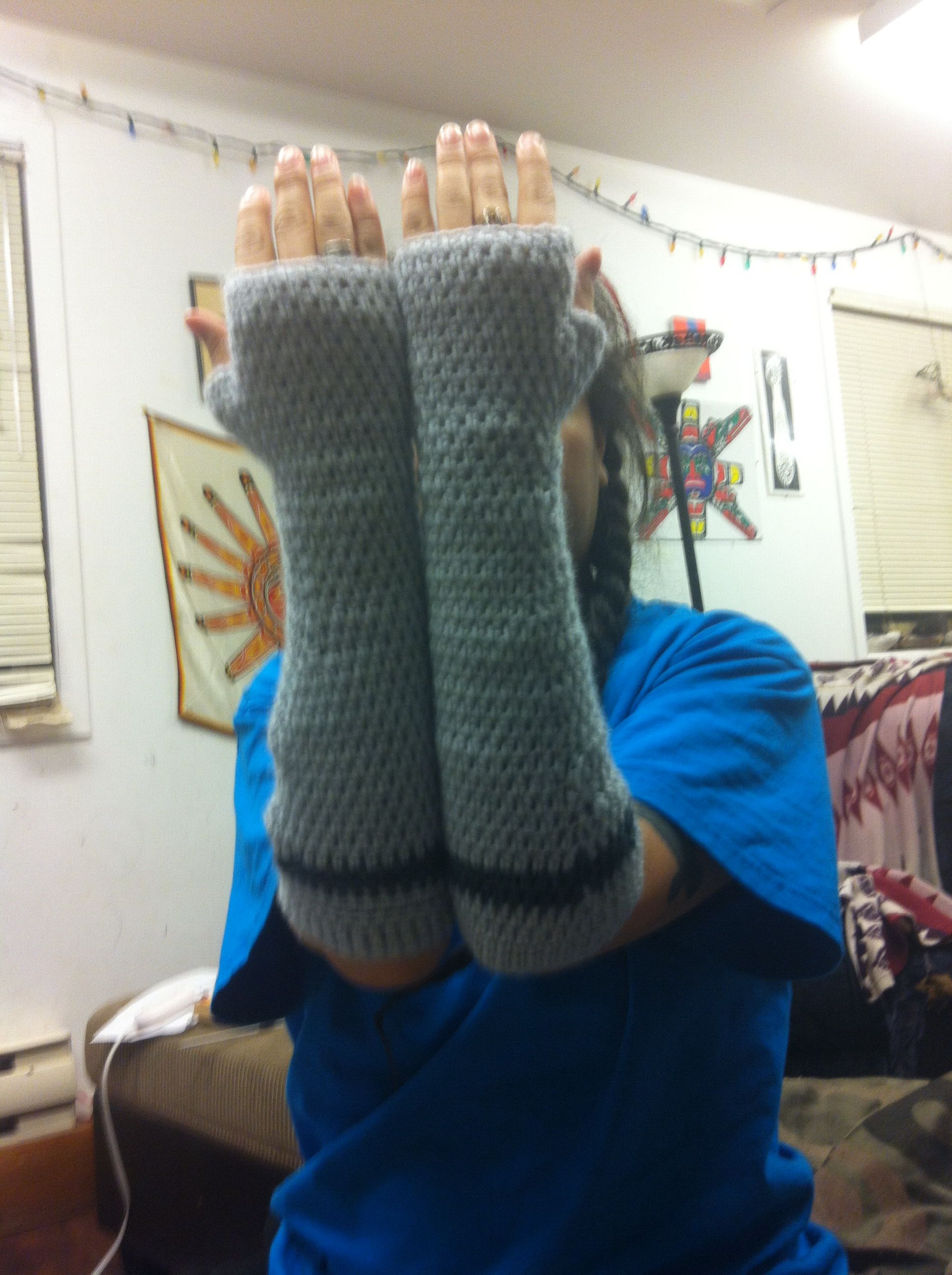 crochet arm warmers didn't use a pattern :) I'm super pleased with how they turned out