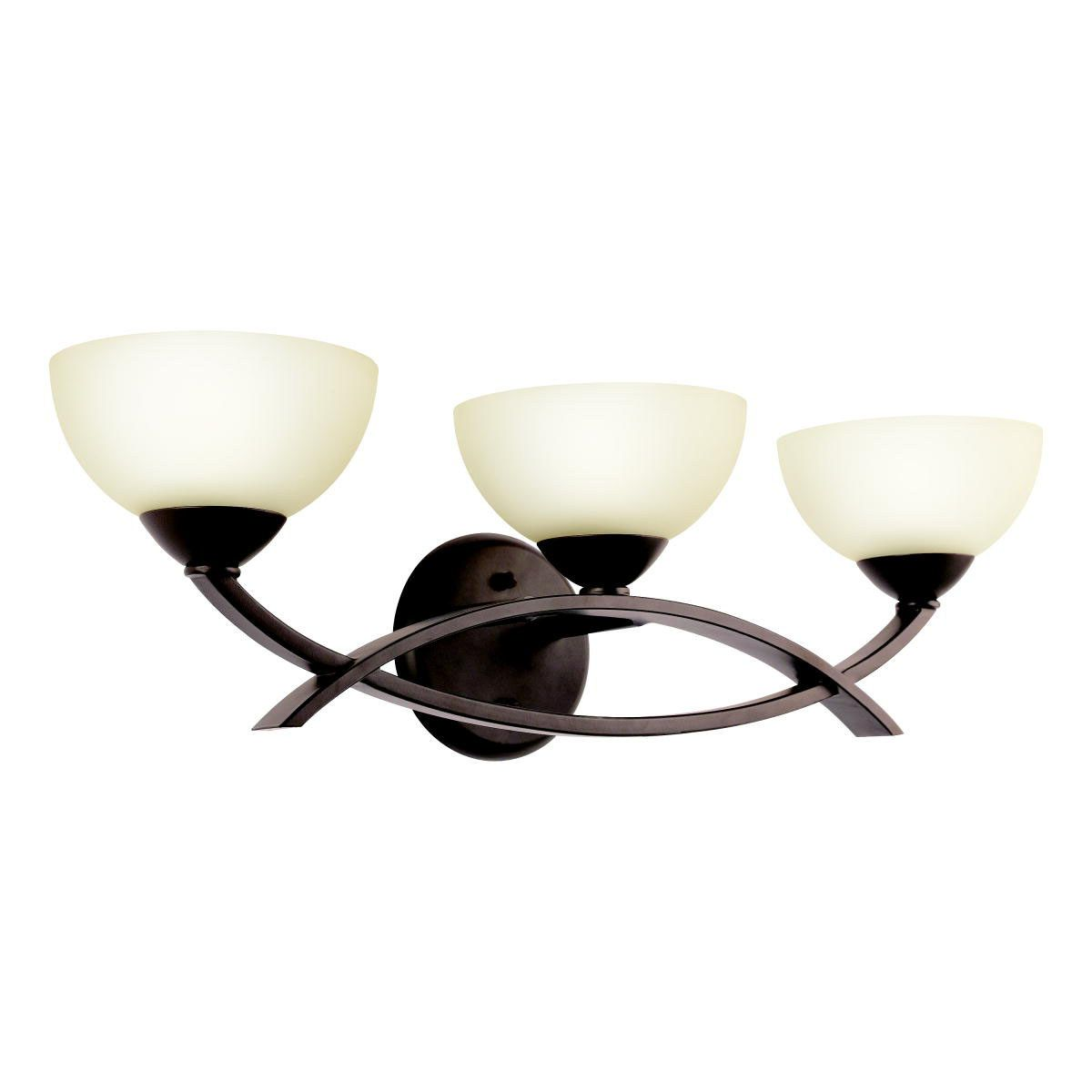 Both sleek and contemporary and warm and classic, the transitional kichler bellamy collection features sweeping intersecting arms and classic bowl shapes, in a silken olde bronze finish and glowing umber-etched glass. It can be hung with the glass up or down and when installed with the glass up it rises 4.75 inches above the center of the wall opening. It uses a 60w max krypton bulb . It is ul listed for damp locations.