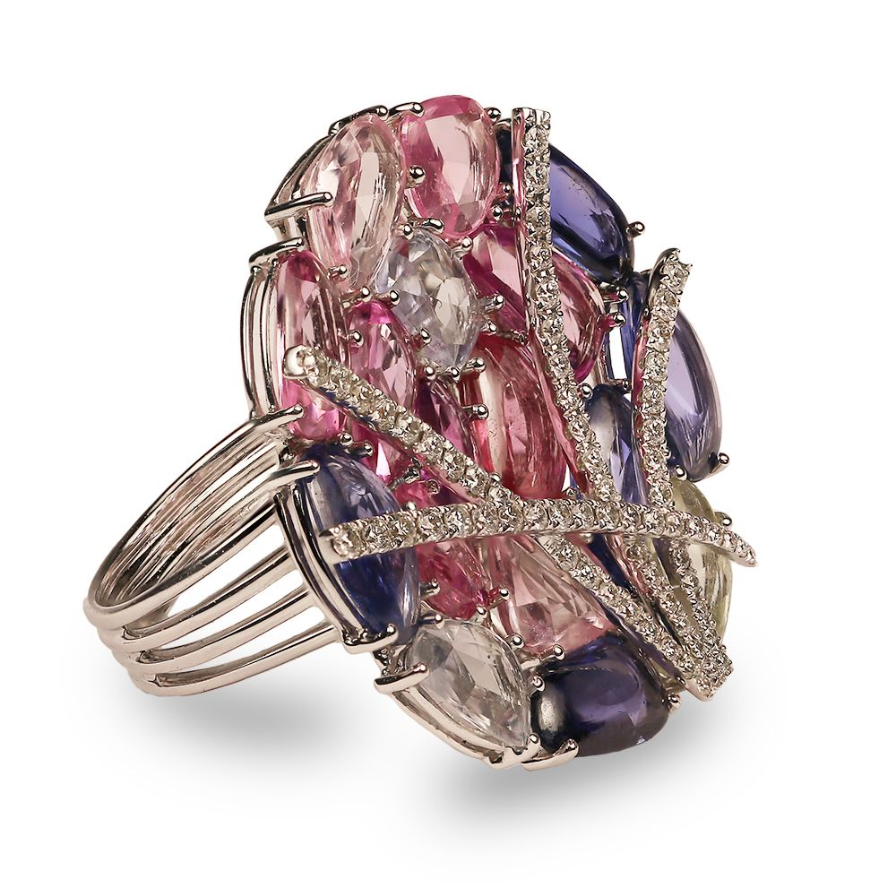 by flower ring laurenza product mcl m jewelry c campbell lyst pave gallery sapphire matthew multicolored l multi