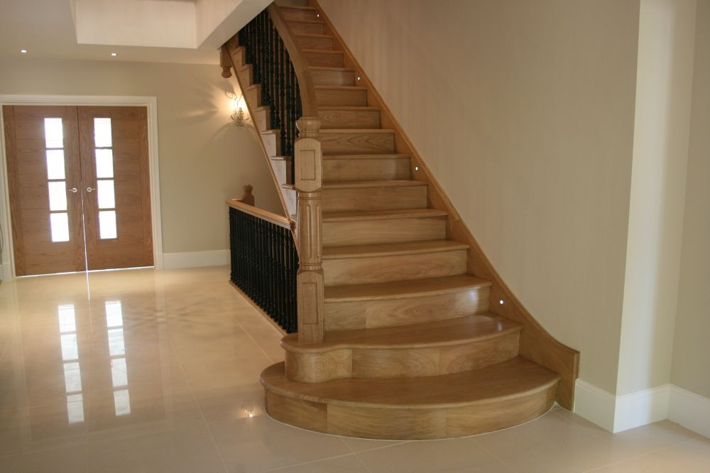 stairs   Triple flight solid Oak stairs for private dwelling