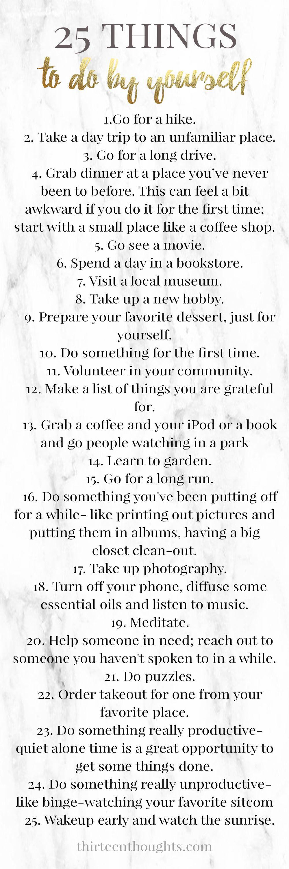 List Of Things To Do >> 25 Things To Do By Yourself Printable List Group Board For