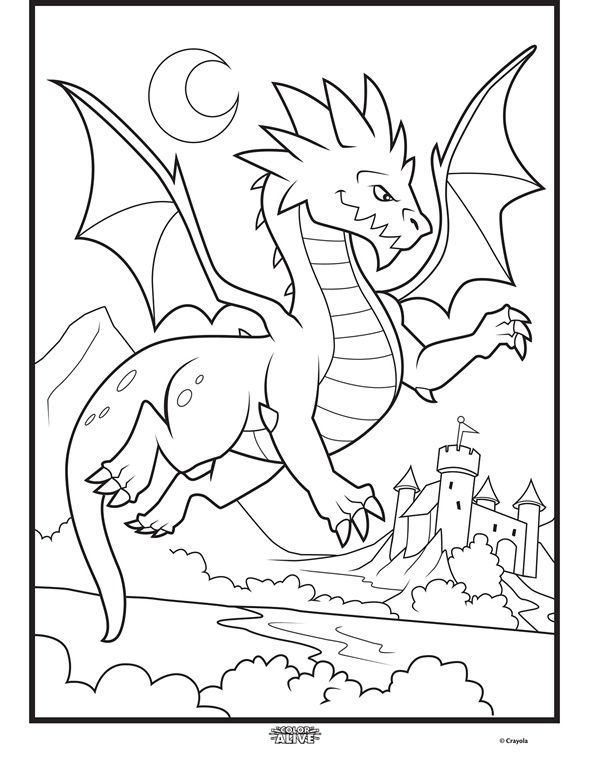 Color Alive Mythical Creatures Dragon On Crayola Com Dragon Coloring Page Coloring Pages Free Coloring Pages