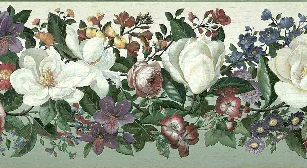 DUTCH STILL LIFE Floral Wallpaper Border BlueGreen White