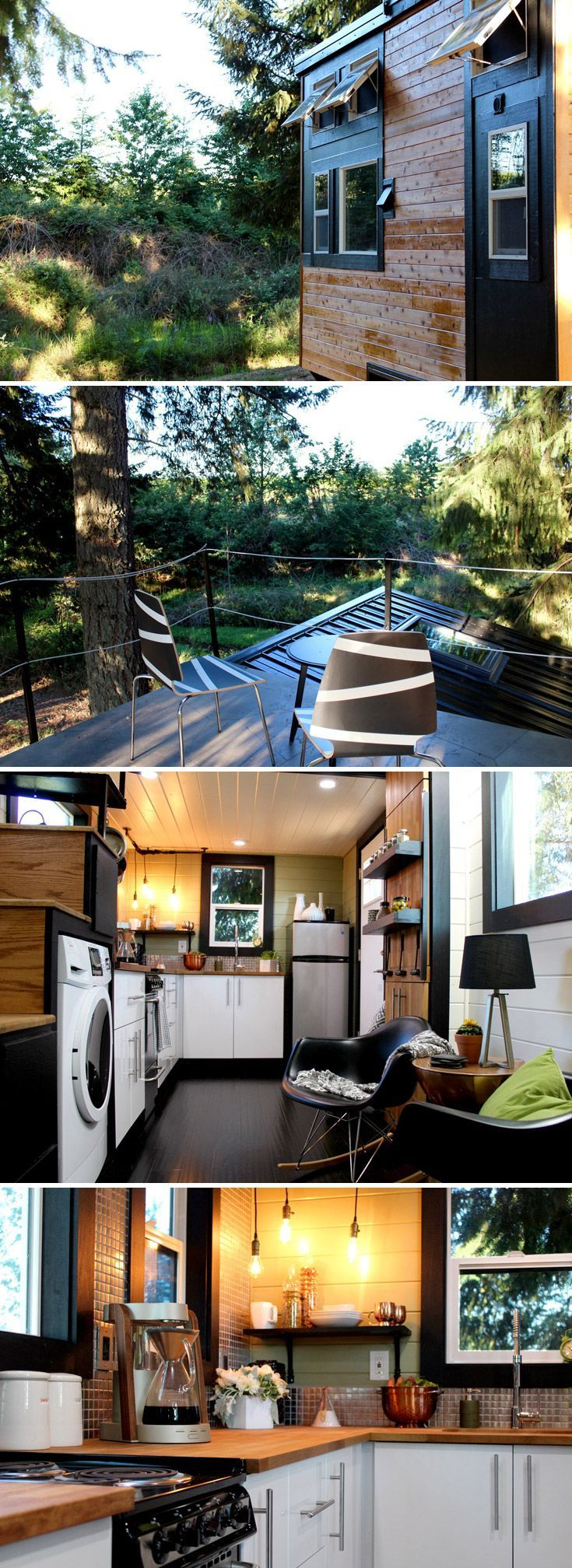 This custom tiny house features a rooftop deck. The modern ...