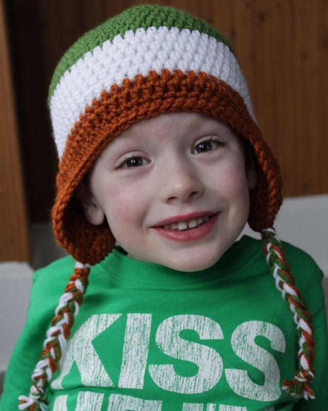 Free Crochet Pattern: Irish Flag Colorblock Hat | Crochet ...