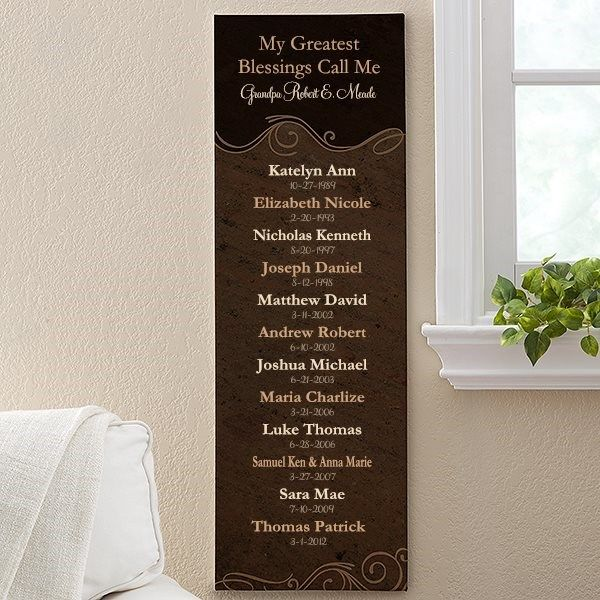 Personalized Grandparents Canvas Print - My Grandkids - Large - Ladies Gifts
