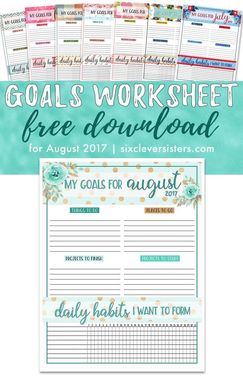 Goals Worksheet Free PDF | Goals worksheet, Goals printable and ...