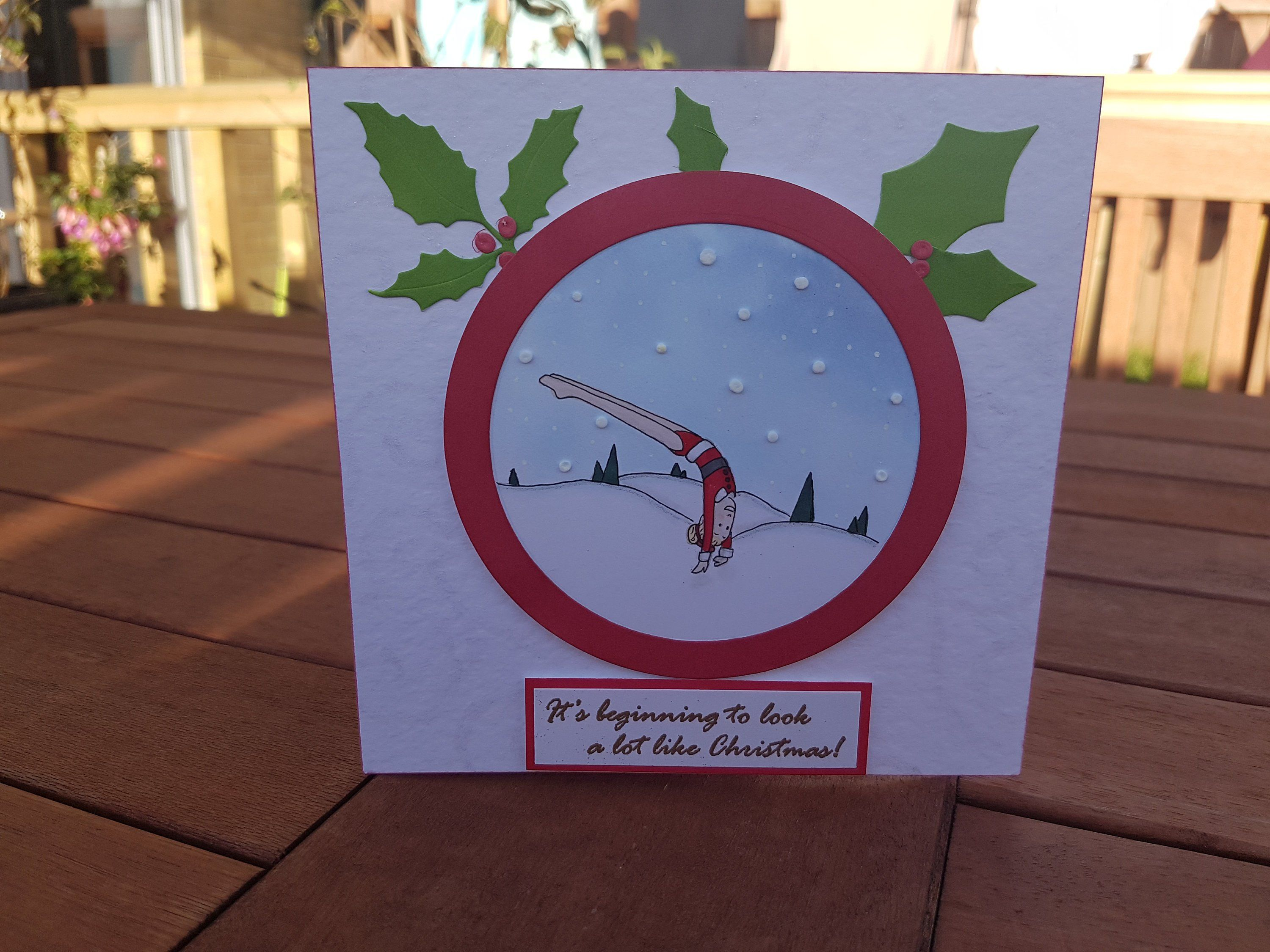 ec57eff20 Hand Drawn Large Gymnastics Themed Christmas Card with Envelope
