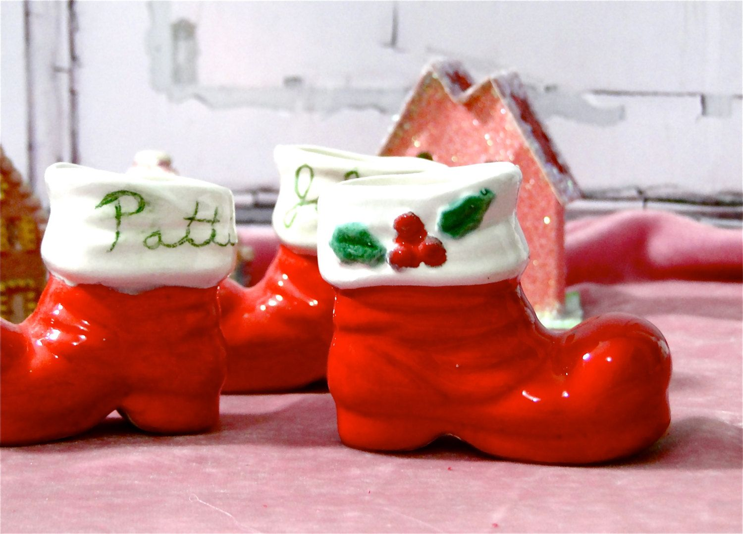 Set of 3 christmas boot vases small red ceramic santa boots set of 3 christmas boot vases small red ceramic santa boots vintage 1979 by sueellensflair on reviewsmspy