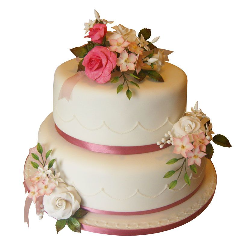 Two Tier Wedding Cake with Pink and White Roses and