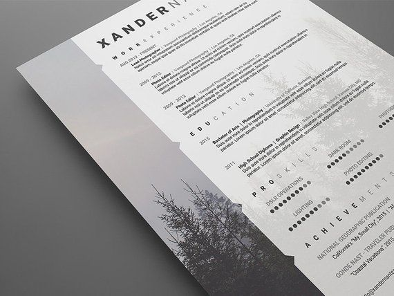 photographer resume template  photoshop psd instant