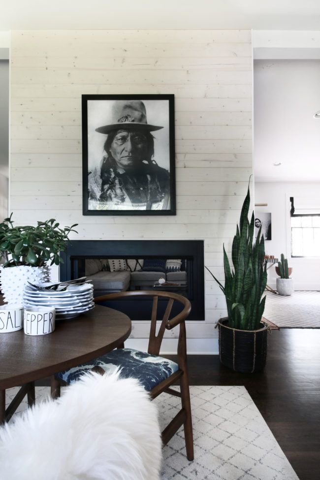 Whitewashed Wood Plank Modern Fireplace Home Ideas