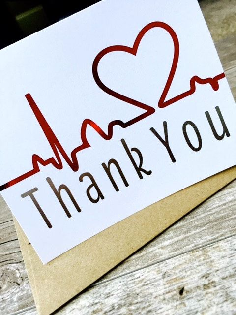 Nurse Thank You Card  Healthcare Note By Yourstrulydesignsco