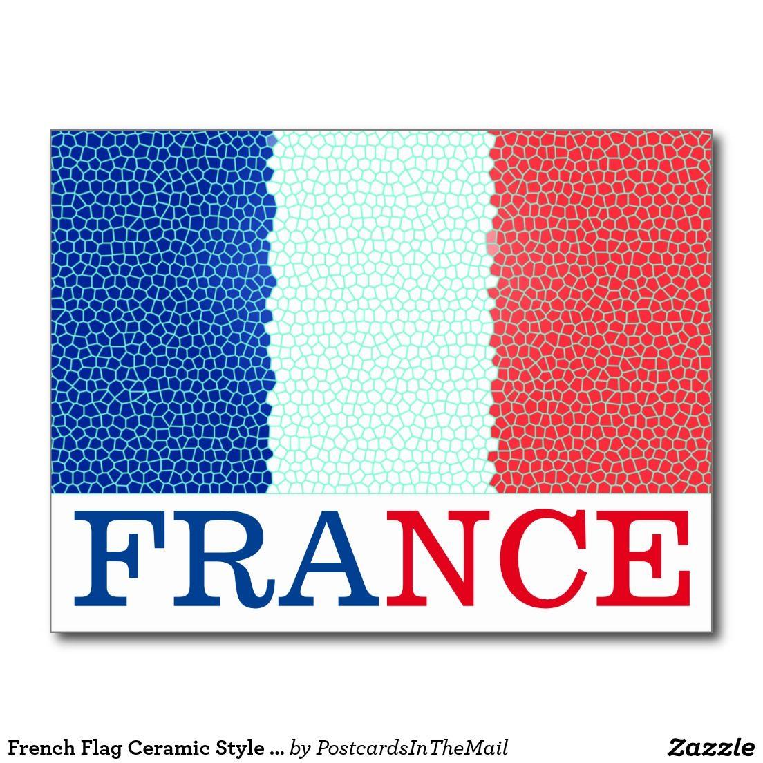 French Flag Ceramic Style France Postcard