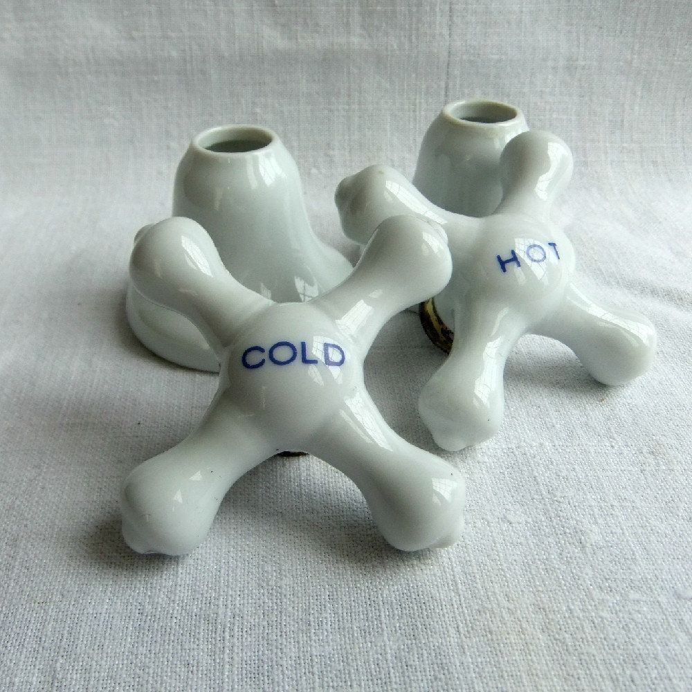 Vintage White Porcelain Bath Tub Or Sink Cross Knobs Or Handles With Escutcheons Hot And Cold