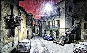 Montestrutto, Sneeuw, Piemonte, Italië