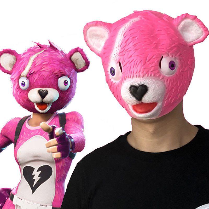 Cuddle Team Leader Fortnite Fluffy Fur Pink Bear Mask Halloween Fancy Dress Game