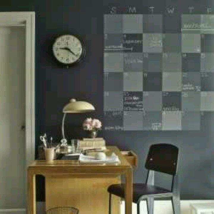 Create a household calendars using chalk board paint on your walls! -Martha Stewart