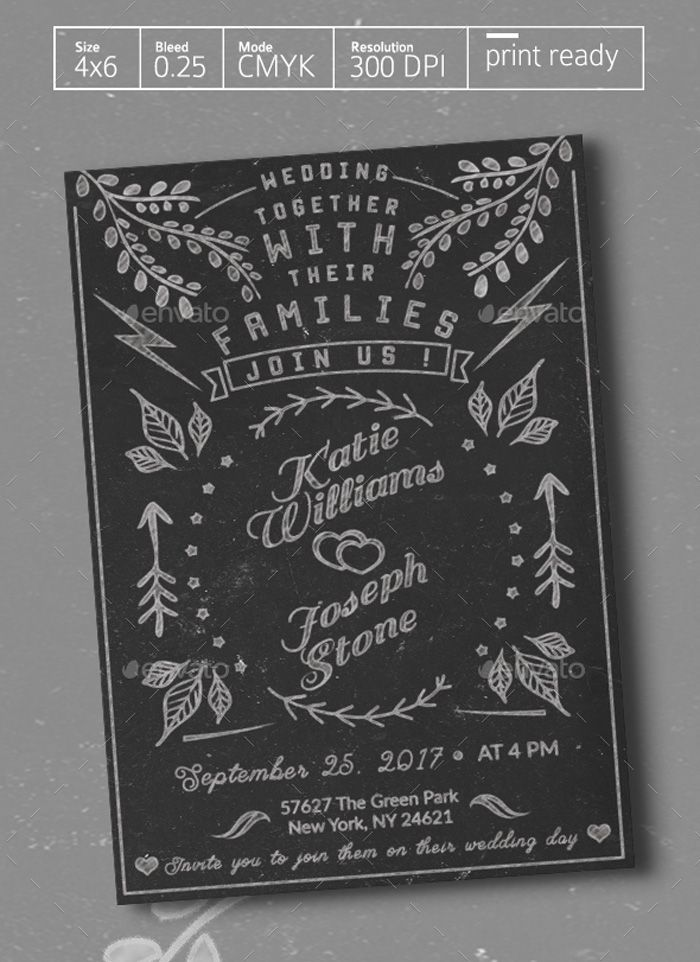 Black-Chalkboard-Wedding-Invitation Flyer Templates Pinterest - chalk board invitation template