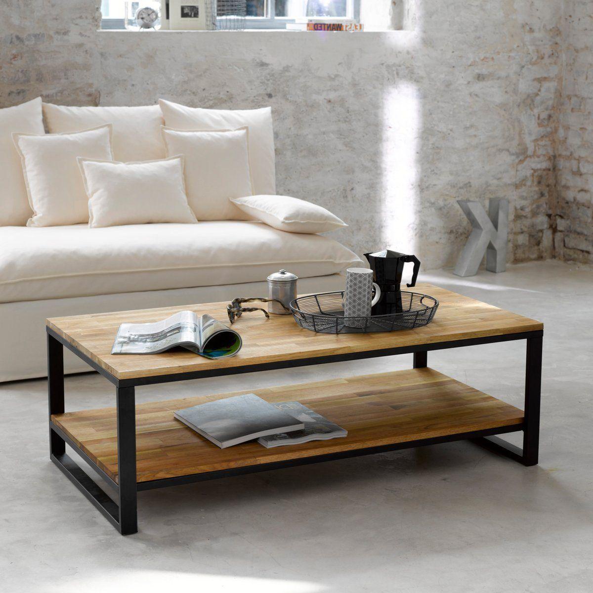 Table Basse Double Plateau En Noyer Massif Aboute Et Acier Hiba Table Basse Chene Table Basse Salon Table Basse