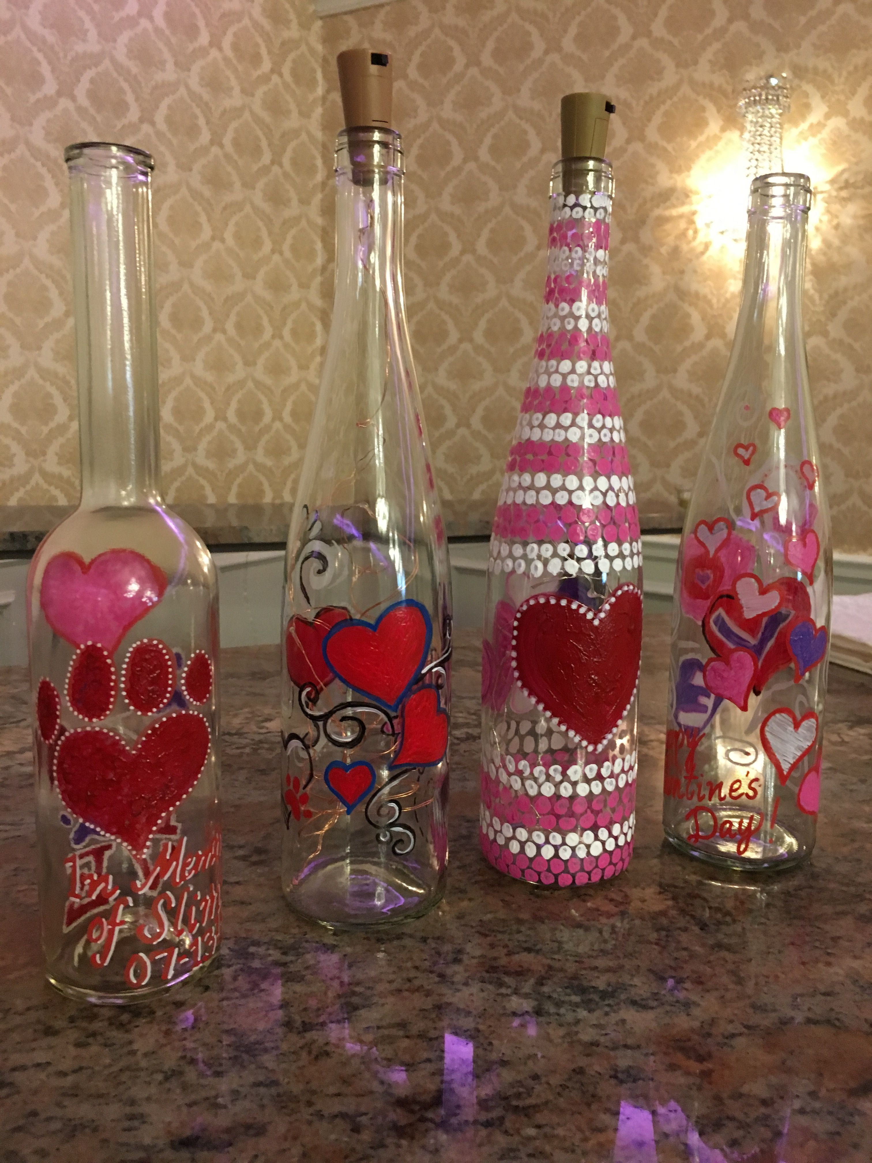 Pin By Sharon Reustle On Wine Bottle Painting Wine Bottle Crafts Diy Holiday Decor Bottle Crafts