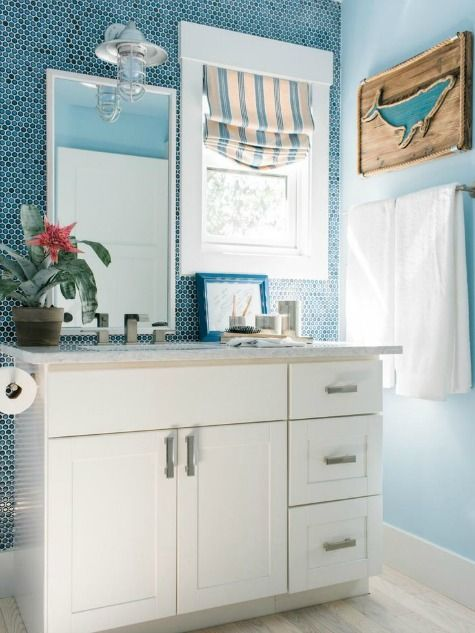 Ocean Blue Bathroom with Blue Penny Tiles: //www.completely ... on florida small homes, florida homes exterior, corner house designs, new york designs, florida interior design, florida luxury homes, florida landscape design, health designs, florida homes inside, florida land, cool house plans and designs, vision designs, california designs, boutique shabby chic interior designs, florida construction, pets designs, poor ad designs, florida design luxury plans, team designs, arizona designs,