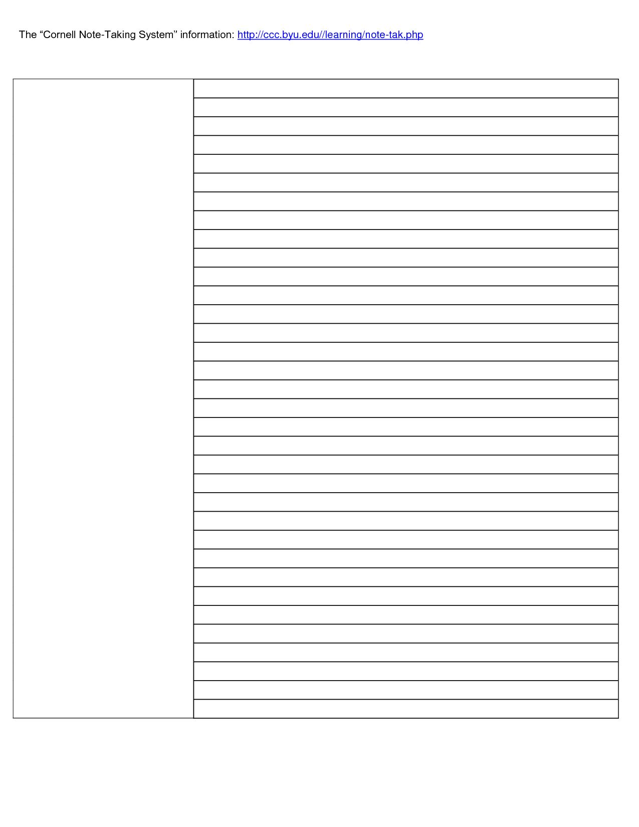 023 Cornell Note Taking Template Word 31836 Research Paper