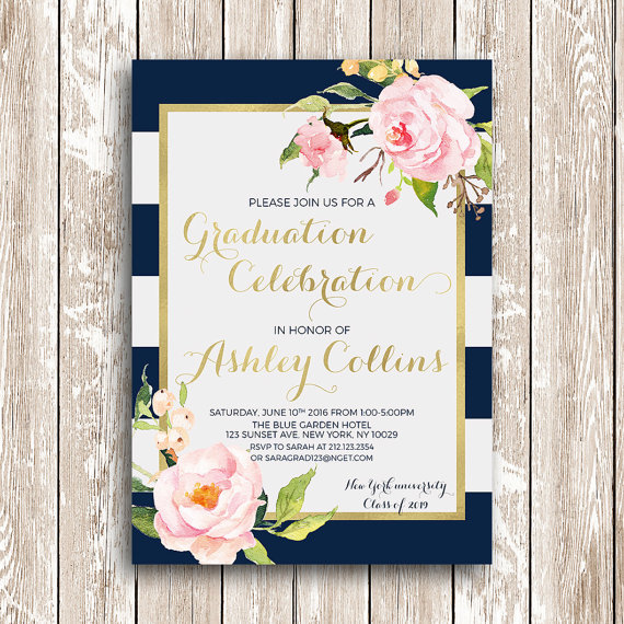 blue and white stripes graduation invitation printable graduation party invites high school college