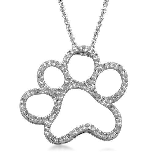 Silver and diamond dog paw pendant necklace 120 cttw i j color silver and diamond dog paw pendant necklace 120 cttw i j color aloadofball Image collections