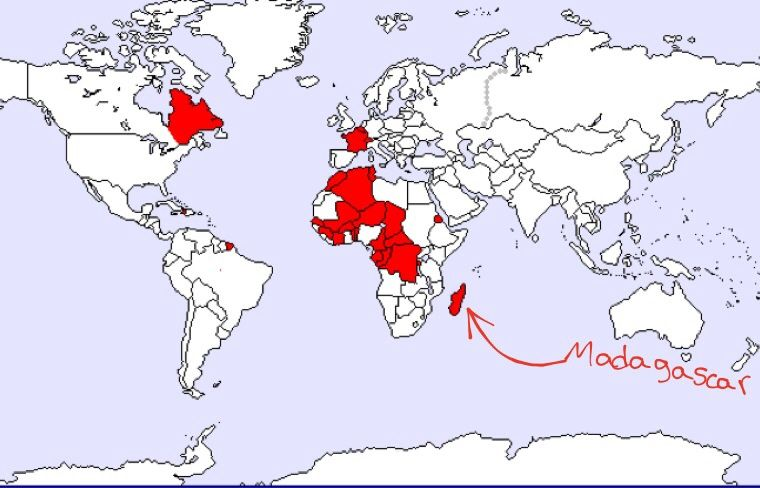 This is a map that shows the french speaking countries in the this is a map that shows the french speaking countries in the world madagascar being gumiabroncs Image collections
