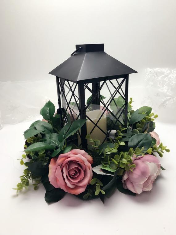 Photo of Wedding Table Centerpiece, Lantern Wreath, Silk Flower Wreath