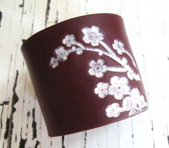 Deep crimson cuff bracelet Asian pink floral blossoms, handmade jewelry by theshagbag on Etsy