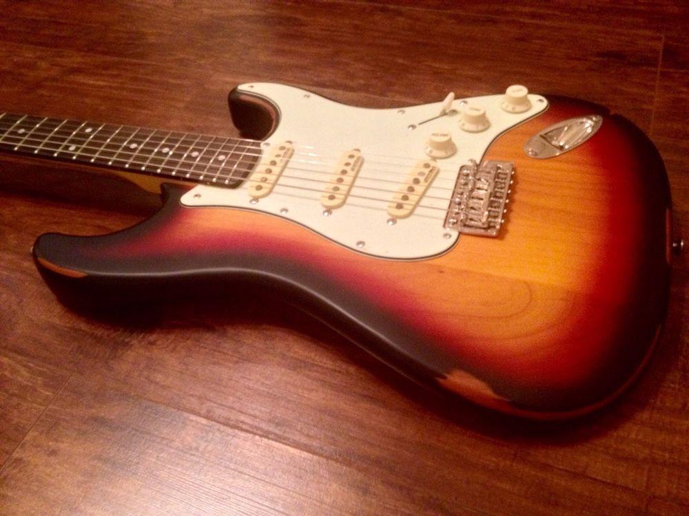 New Vintage V6mrssb Distressed Sunset Sunburst Strat Guitar Case Available Strat Guitar Guitar Case Guitar