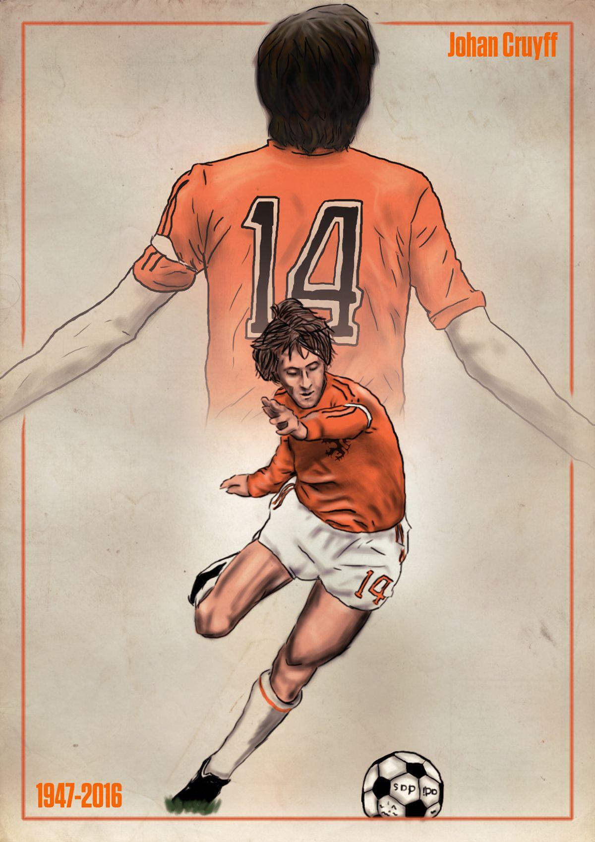 Ilustración en memoria de Johan Cruyff 1947-2016  5202f2650fe