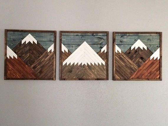Rustic Mountain Wall Art Wood Wall Art Parquetry Reclaimed Wood Wall Decor Wood Art Cotton Cand Wood Wall Art Decor Mountain Wood Wall Art Pallet Wall Art