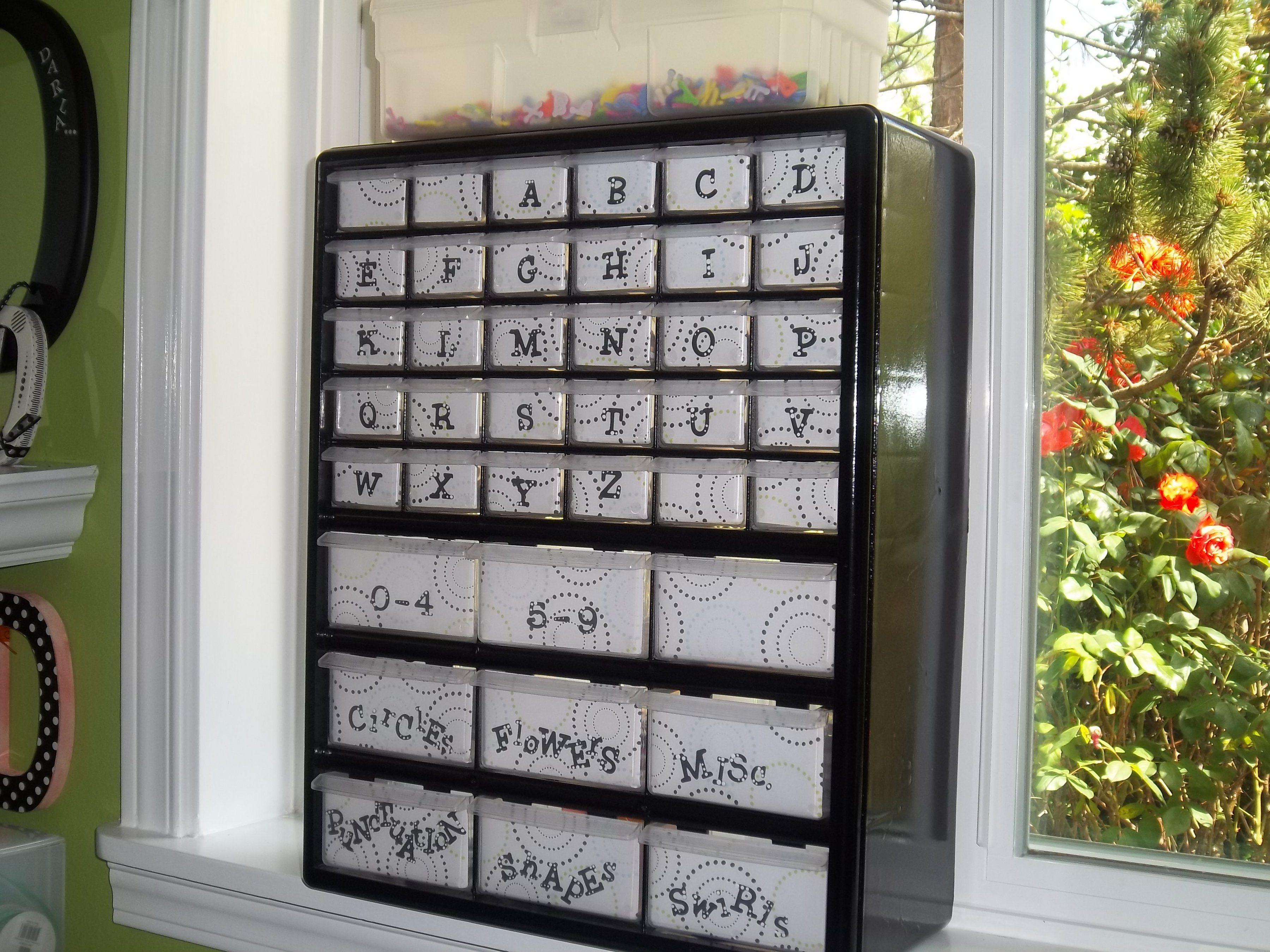 Scrapbook room storage ideas - Chipboard Letter Storage Scrapbook Com Love This Idea For My Scrapbooking